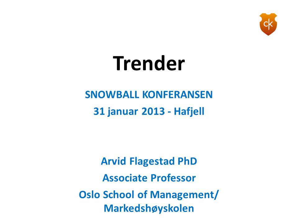 Trender SNOWBALL KONFERANSEN 31 januar 2013 - Hafjell Arvid Flagestad PhD Associate Professor Oslo School of Management/ Markedshøyskolen