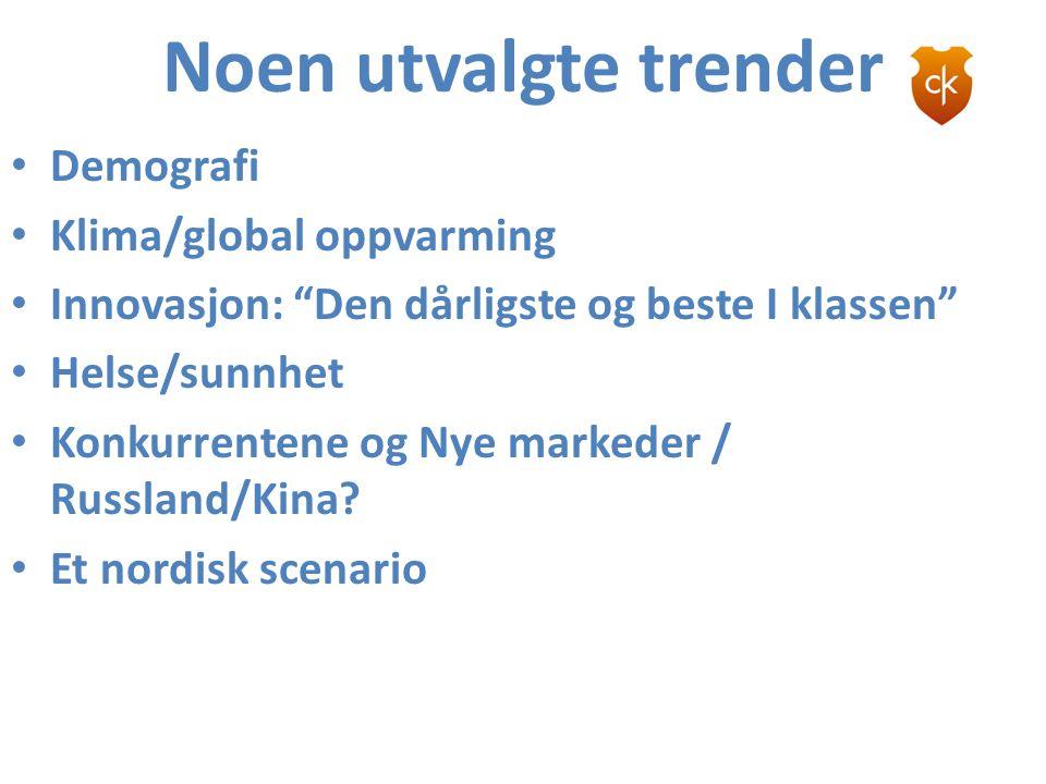 """Noen utvalgte trender • Demografi • Klima/global oppvarming • Innovasjon: """"Den dårligste og beste I klassen"""" • Helse/sunnhet • Konkurrentene og Nye ma"""