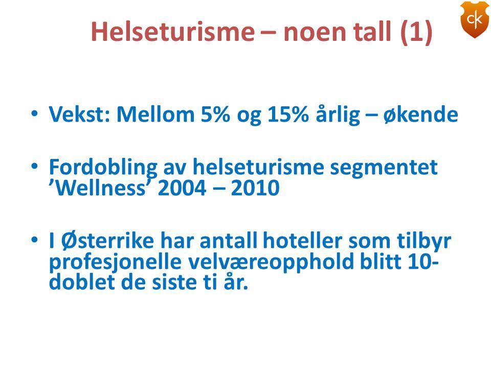 Helseturisme – noen tall (1) • Vekst: Mellom 5% og 15% årlig – økende • Fordobling av helseturisme segmentet 'Wellness' 2004 – 2010 • I Østerrike har