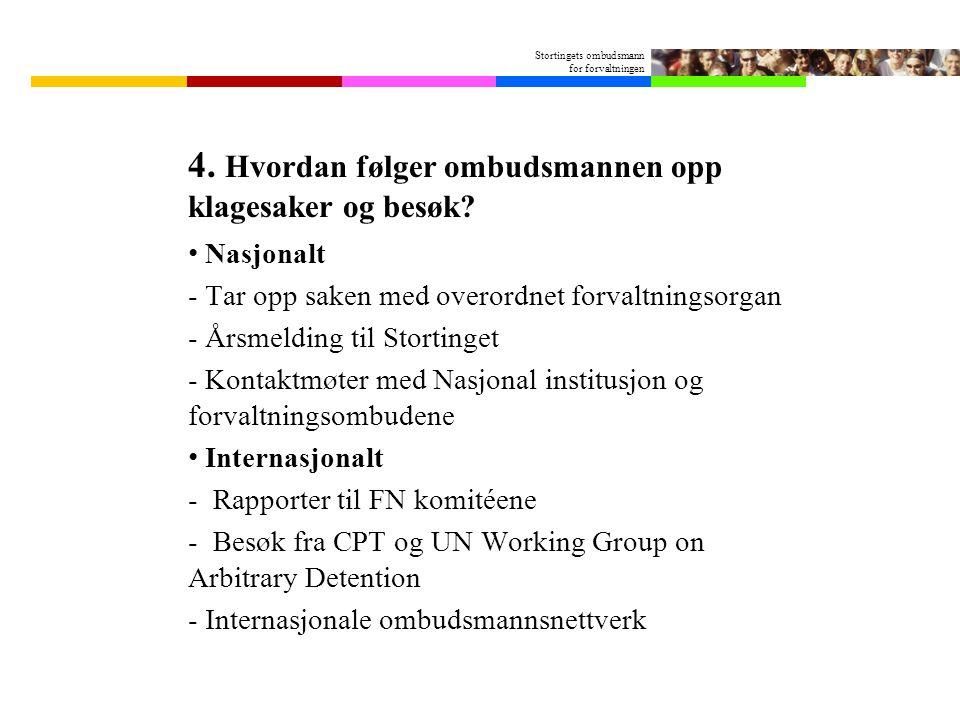 Stortingets ombudsmann for forvaltningen 4.Hvordan følger ombudsmannen opp klagesaker og besøk.