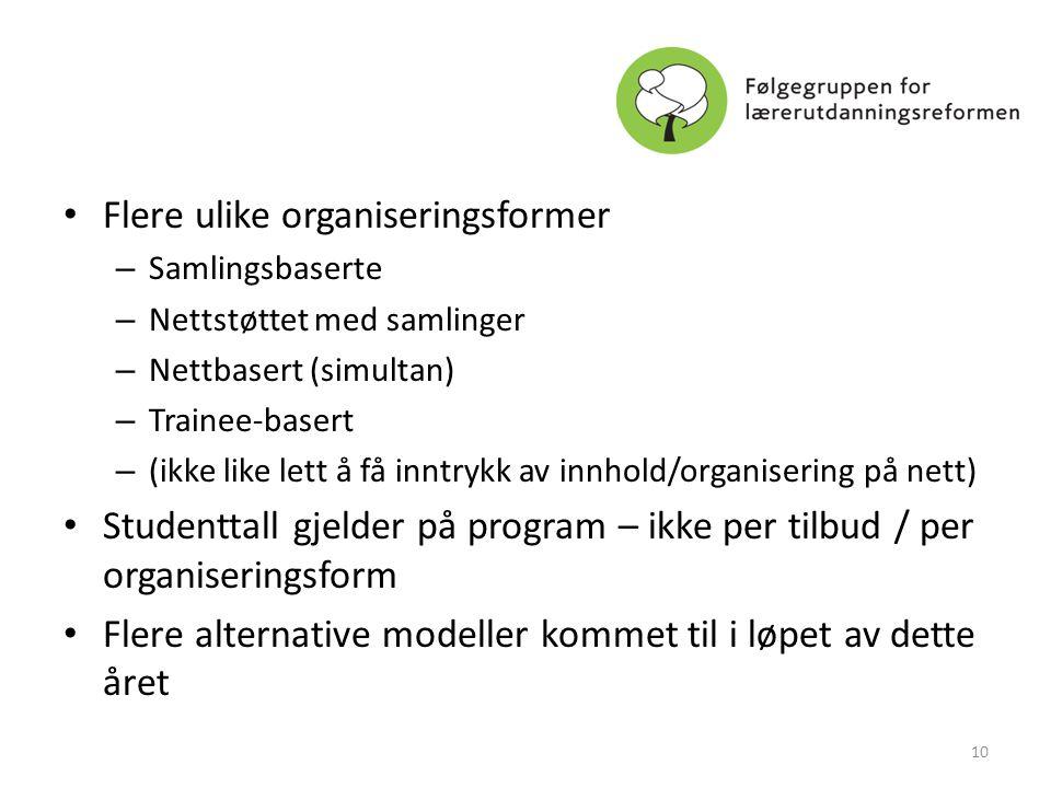 • Flere ulike organiseringsformer – Samlingsbaserte – Nettstøttet med samlinger – Nettbasert (simultan) – Trainee-basert – (ikke like lett å få inntry