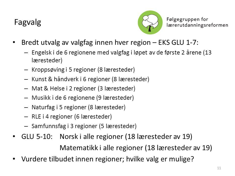 Fagvalg • Bredt utvalg av valgfag innen hver region – EKS GLU 1-7: – Engelsk i de 6 regionene med valgfag i løpet av de første 2 årene (13 læresteder)