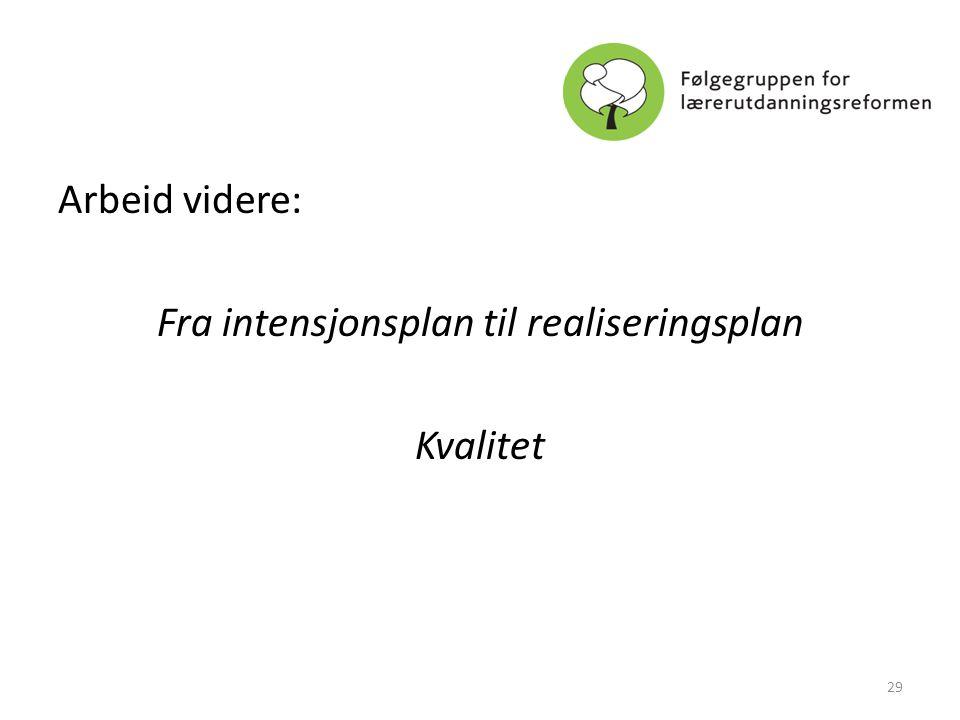 Arbeid videre: Fra intensjonsplan til realiseringsplan Kvalitet 29