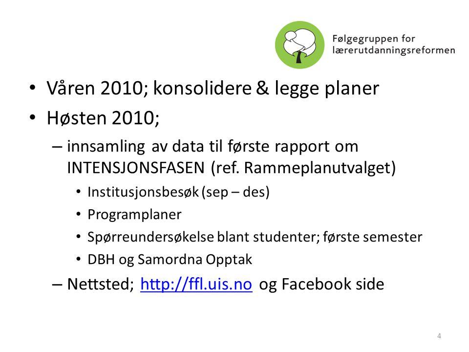 • Våren 2010; konsolidere & legge planer • Høsten 2010; – innsamling av data til første rapport om INTENSJONSFASEN (ref. Rammeplanutvalget) • Institus