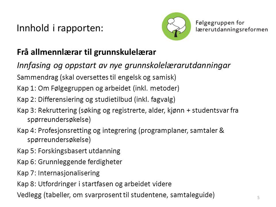 Innhold i rapporten: Frå allmennlærar til grunnskulelærar Innfasing og oppstart av nye grunnskolelærarutdanningar Sammendrag (skal oversettes til enge