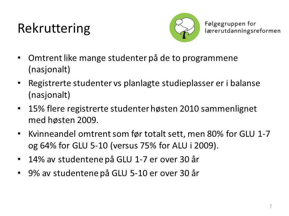 Rekruttering • Omtrent like mange studenter på de to programmene (nasjonalt) • Registrerte studenter vs planlagte studieplasser er i balanse (nasjonal