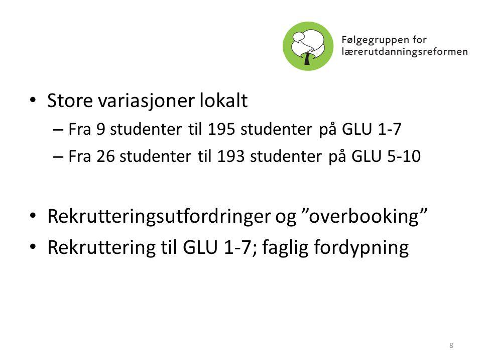• Store variasjoner lokalt – Fra 9 studenter til 195 studenter på GLU 1-7 – Fra 26 studenter til 193 studenter på GLU 5-10 • Rekrutteringsutfordringer