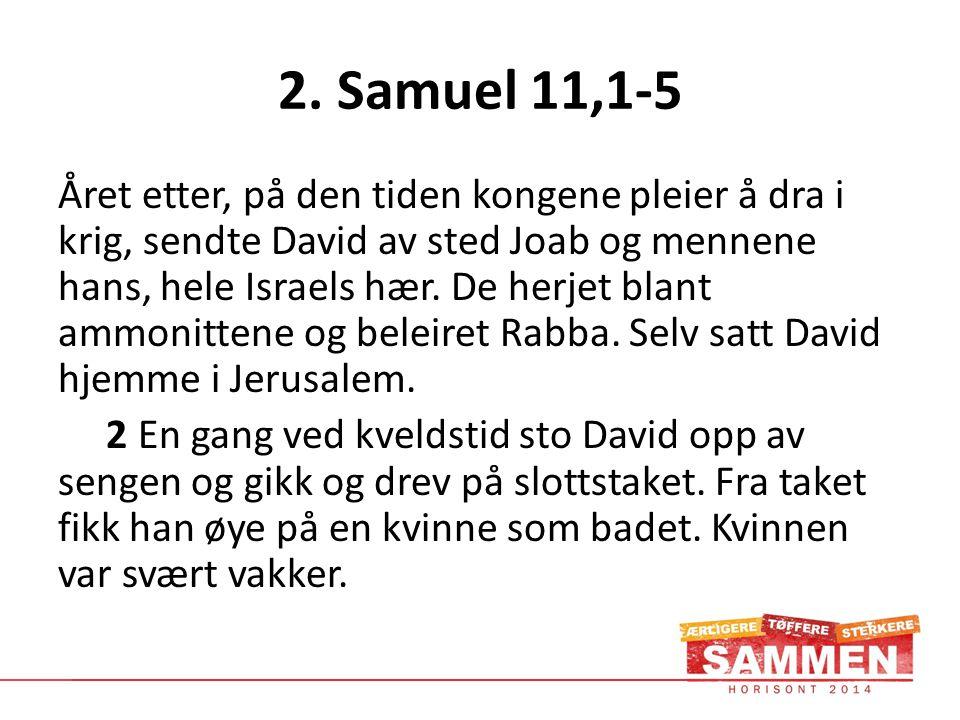 2. Samuel 11,1-5 Året etter, på den tiden kongene pleier å dra i krig, sendte David av sted Joab og mennene hans, hele Israels hær. De herjet blant am