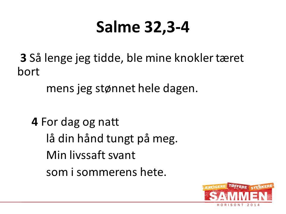 Salme 32,3-4 3 Så lenge jeg tidde, ble mine knokler tæret bort mens jeg stønnet hele dagen.