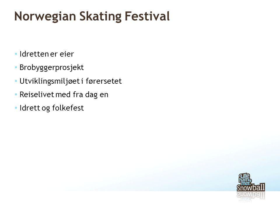 Norwegian Skating Festival • Idretten er eier • Brobyggerprosjekt • Utviklingsmiljøet i førersetet • Reiselivet med fra dag en • Idrett og folkefest