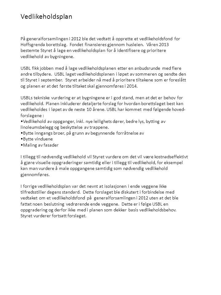 På generalforsamlingen i 2012 ble det vedtatt å opprette et vedlikeholdsfond for Hoffsgrenda borettslag.