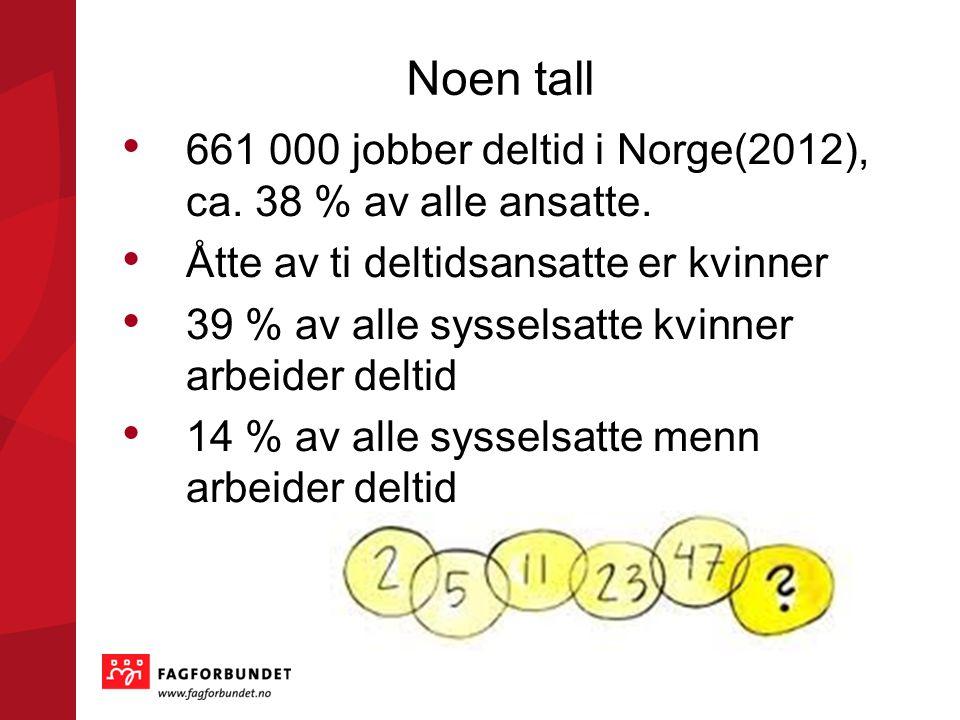 Noen tall • 661 000 jobber deltid i Norge(2012), ca.
