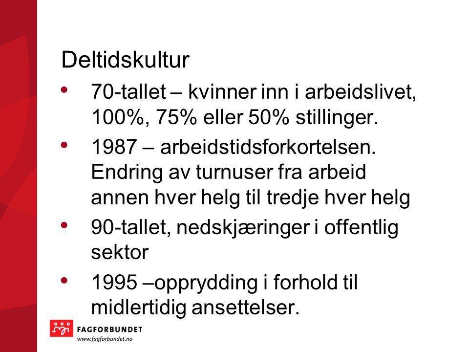 Deltidskultur • 70-tallet – kvinner inn i arbeidslivet, 100%, 75% eller 50% stillinger.