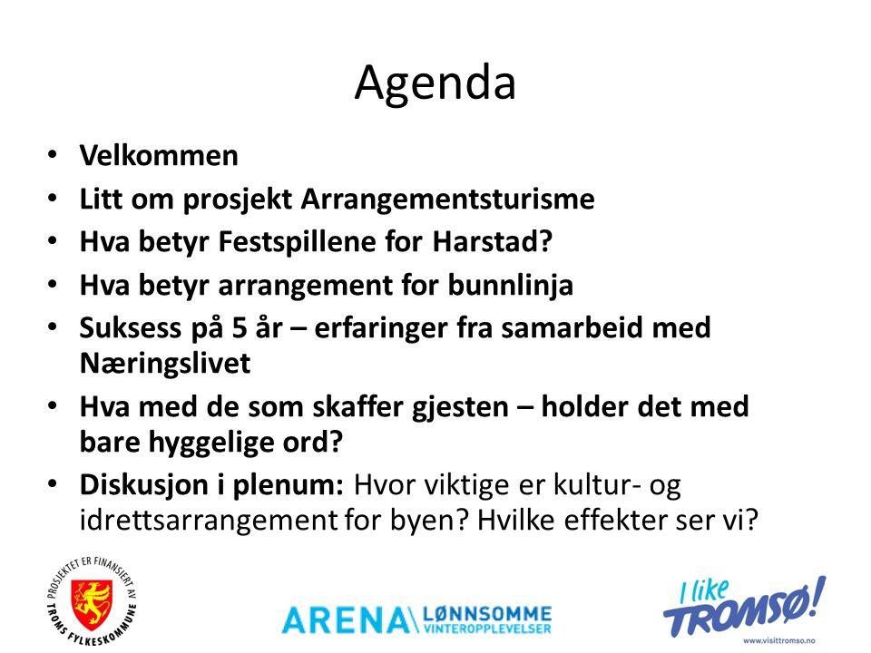 Agenda • Velkommen • Litt om prosjekt Arrangementsturisme • Hva betyr Festspillene for Harstad? • Hva betyr arrangement for bunnlinja • Suksess på 5 å