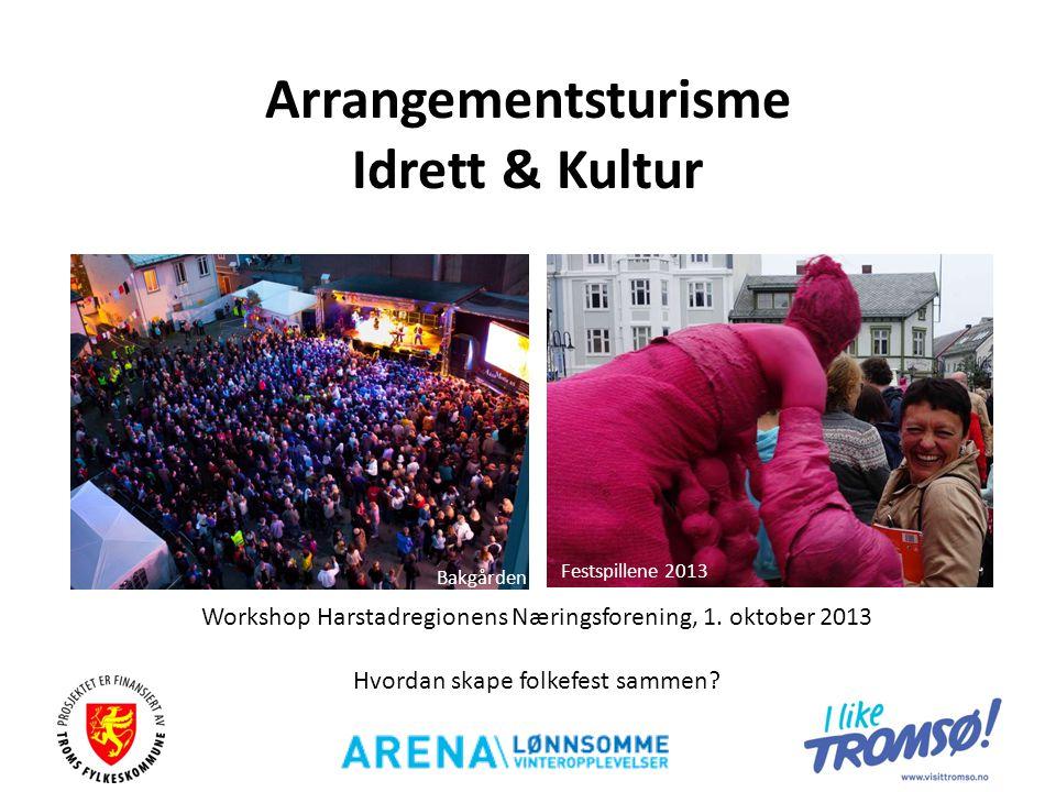 Arrangementsturisme Idrett & Kultur Workshop Harstadregionens Næringsforening, 1. oktober 2013 Hvordan skape folkefest sammen? Bakgården Festspillene