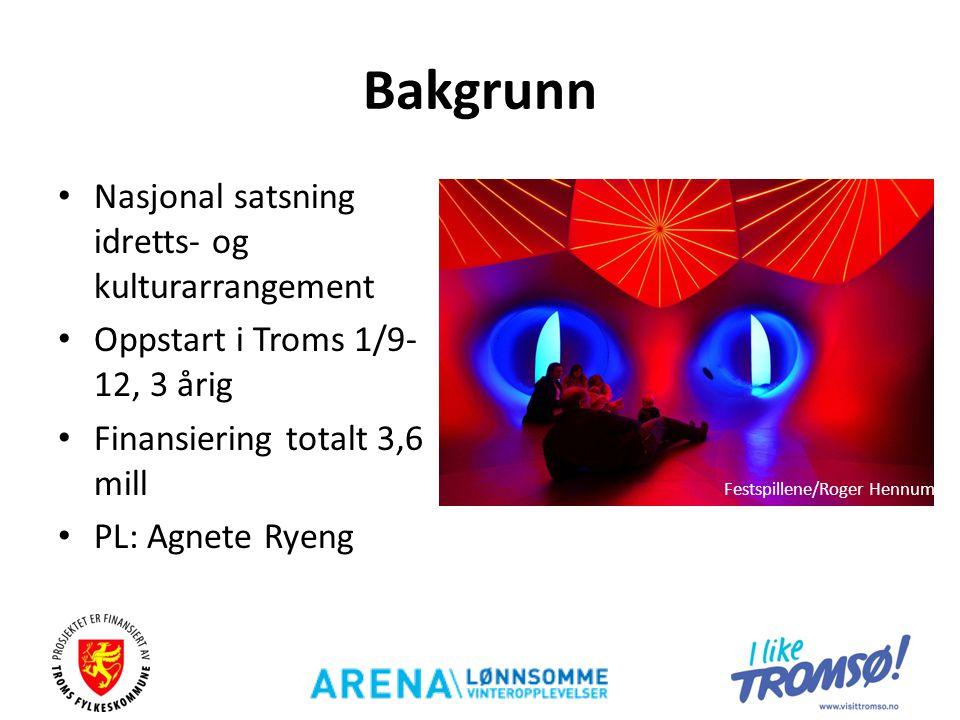 Bakgrunn • Nasjonal satsning idretts- og kulturarrangement • Oppstart i Troms 1/9- 12, 3 årig • Finansiering totalt 3,6 mill • PL: Agnete Ryeng Festsp