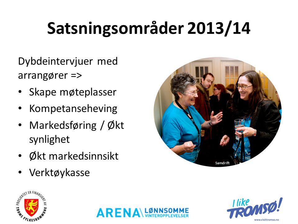 Satsningsområder 2013/14 Dybdeintervjuer med arrangører => • Skape møteplasser • Kompetanseheving • Markedsføring / Økt synlighet • Økt markedsinnsikt