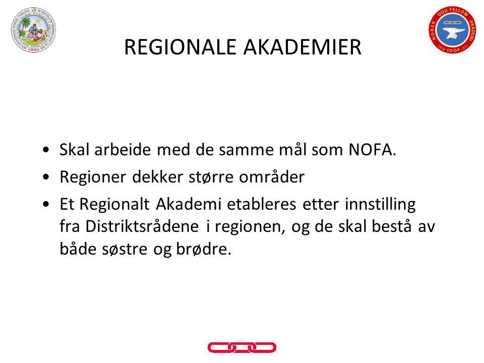 •Skal arbeide med de samme mål som NOFA. •Regioner dekker større områder •Et Regionalt Akademi etableres etter innstilling fra Distriktsrådene i regio