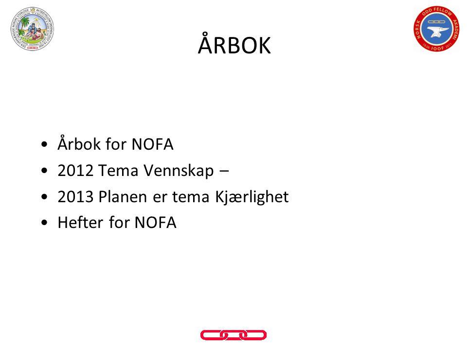 •Årbok for NOFA •2012 Tema Vennskap – •2013 Planen er tema Kjærlighet •Hefter for NOFA ÅRBOK