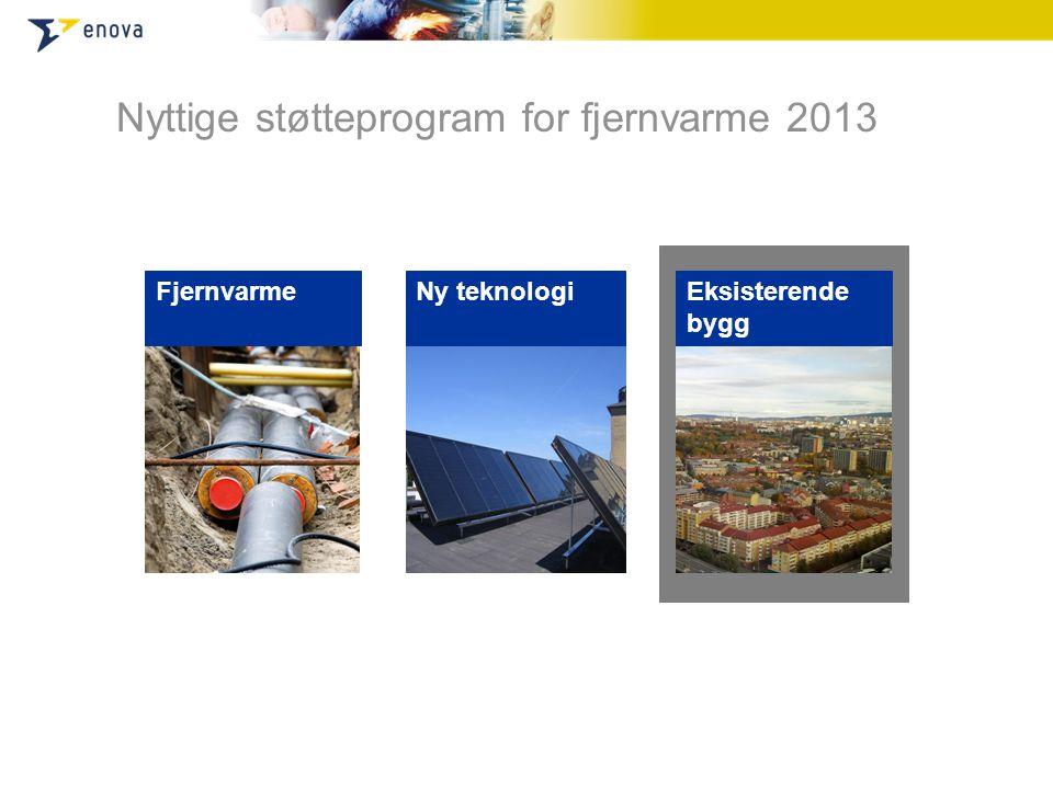Nyttige støtteprogram for fjernvarme 2013 Fjernvarme Ny teknologi Eksisterende bygg