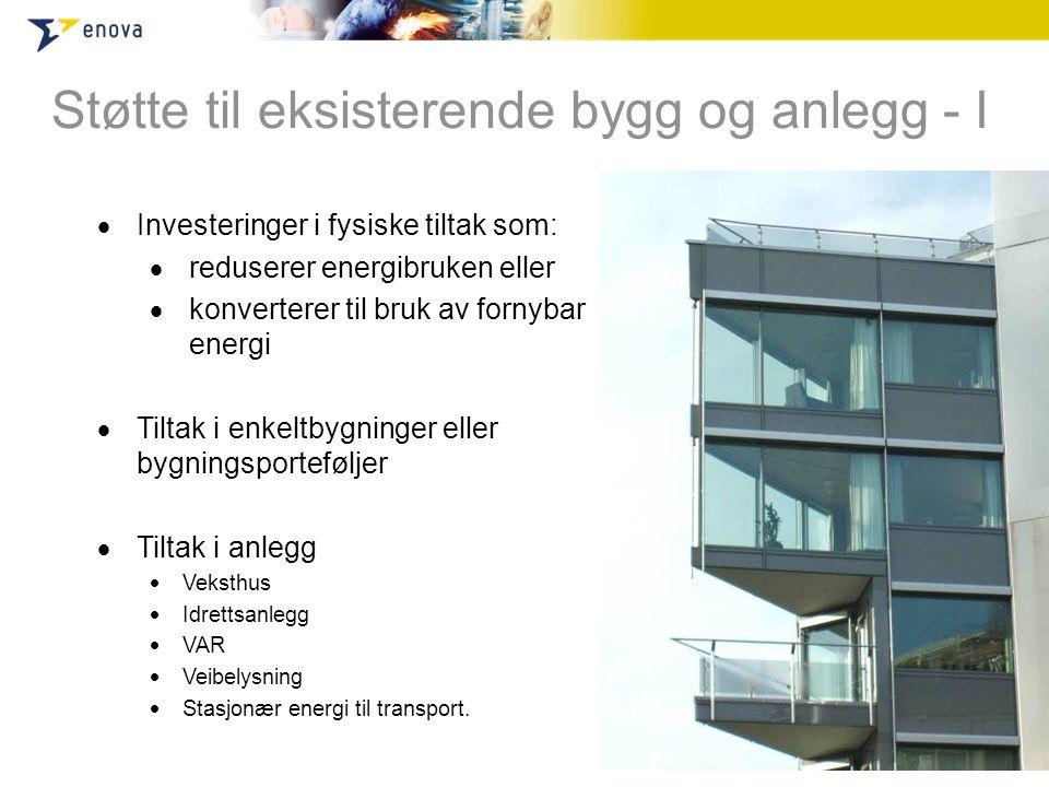  Investeringer i fysiske tiltak som:  reduserer energibruken eller  konverterer til bruk av fornybar energi  Tiltak i enkeltbygninger eller bygnin