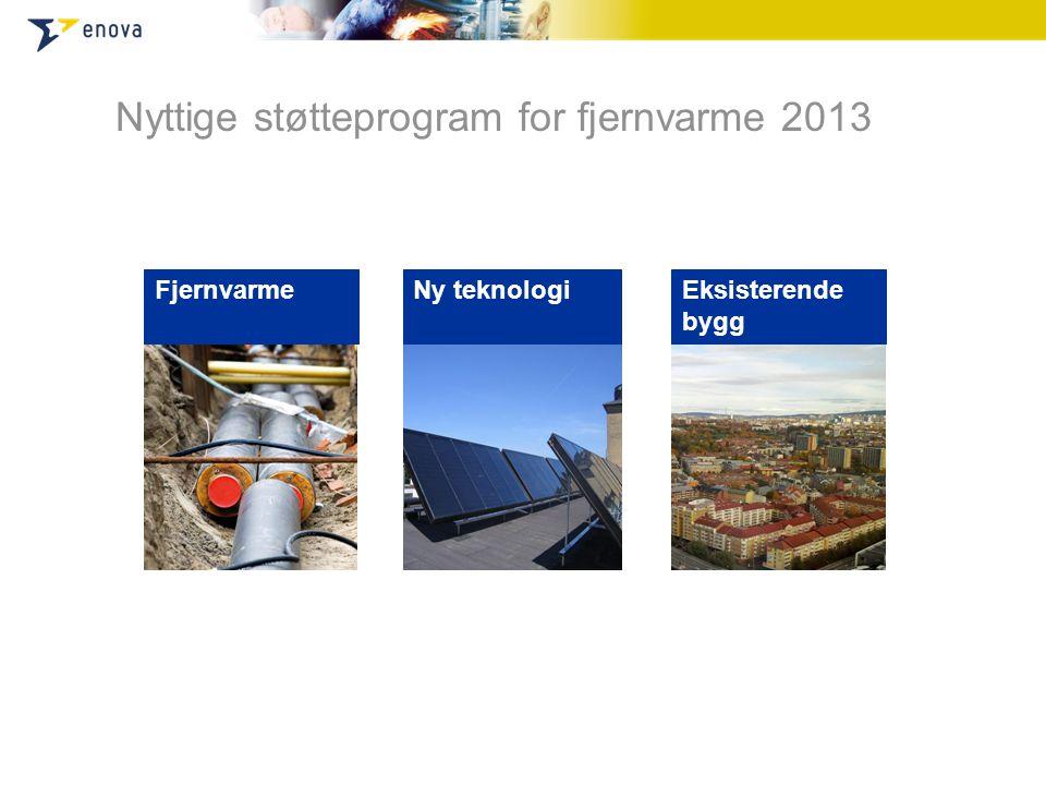 Nyttige støtteprogram for fjernvarme 2013 FjernvarmeNy teknologiEksisterende bygg