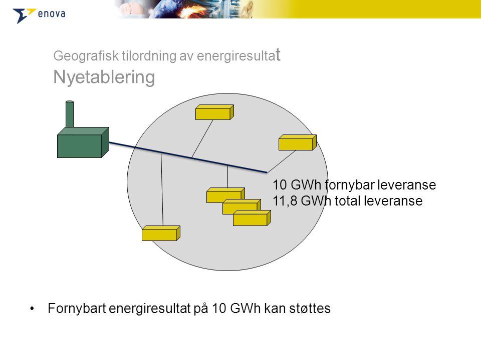 •Fornybart energiresultat på 10 GWh kan støttes Geografisk tilordning av energiresulta t Nyetablering 10 GWh fornybar leveranse 11,8 GWh total leveran