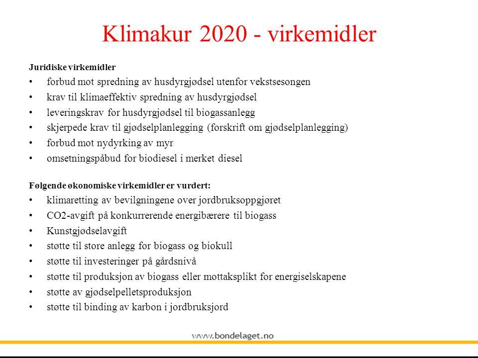 Klimakur 2020 - virkemidler Juridiske virkemidler • forbud mot spredning av husdyrgjødsel utenfor vekstsesongen • krav til klimaeffektiv spredning av