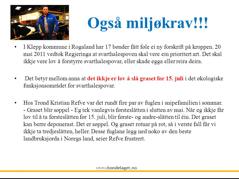 Også miljøkrav!!! • I Klepp kommune i Rogaland har 17 bønder fått føle ei ny forskrift på kroppen. 20 mai 2011 vedtok Regjeringa at svarthalespoven sk