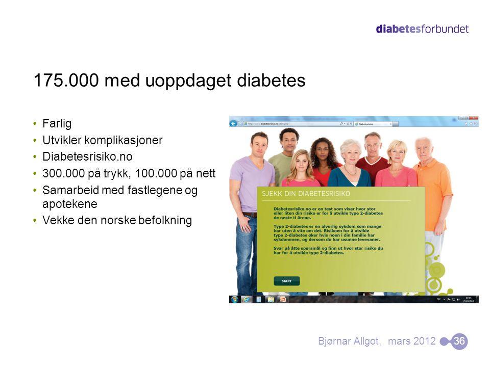 •Farlig •Utvikler komplikasjoner •Diabetesrisiko.no •300.000 på trykk, 100.000 på nett •Samarbeid med fastlegene og apotekene •Vekke den norske befolk