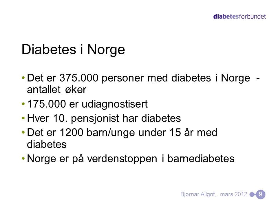Diabetes i Norge •Det er 375.000 personer med diabetes i Norge - antallet øker •175.000 er udiagnostisert •Hver 10. pensjonist har diabetes •Det er 12