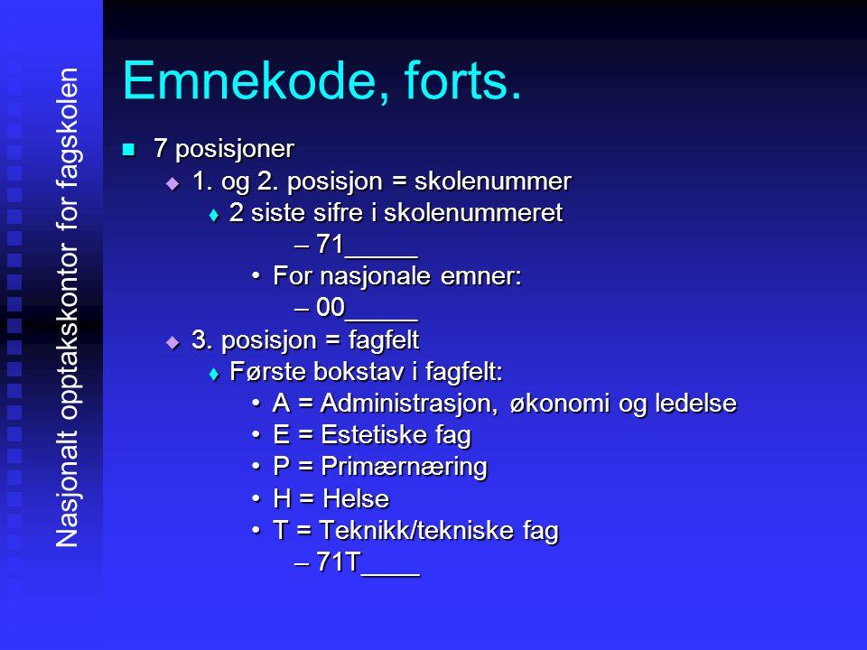 Emnekode, forts.4444.
