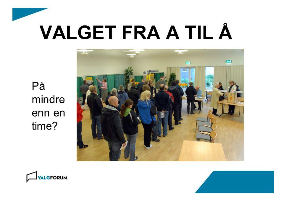VALGET FRA A TIL Å På mindre enn en time