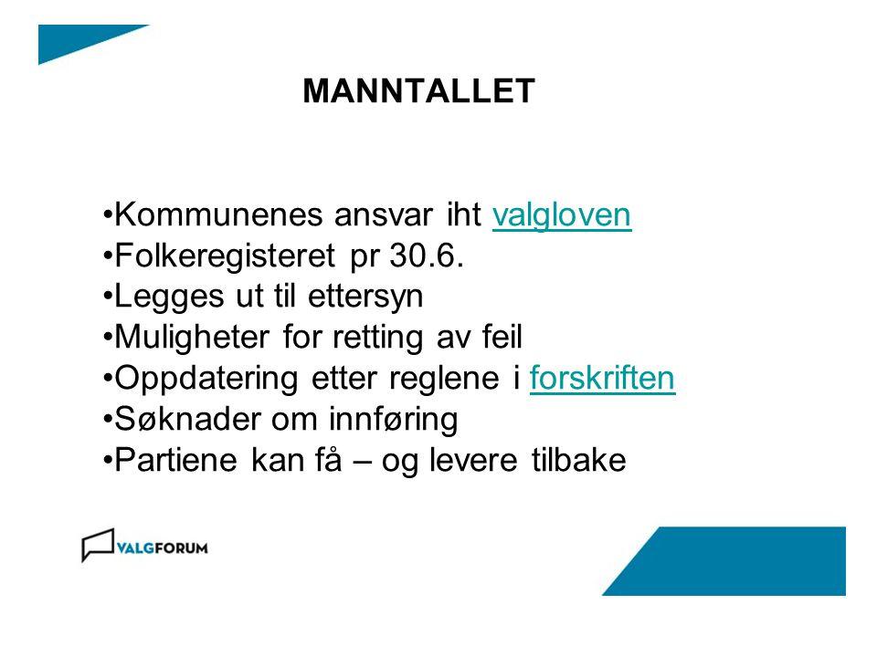 MANNTALLET •Kommunenes ansvar iht valglovenvalgloven •Folkeregisteret pr 30.6.