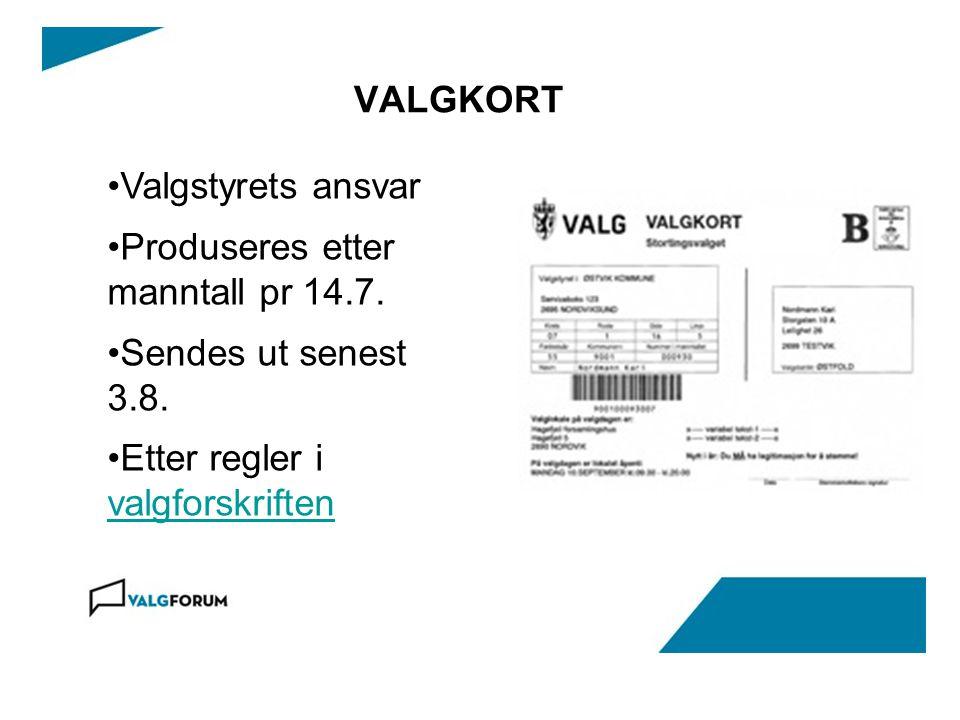 VALGKORT •Valgstyrets ansvar •Produseres etter manntall pr 14.7.