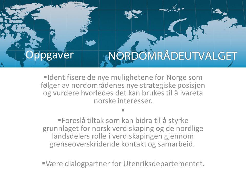  Identifisere de nye mulighetene for Norge som følger av nordområdenes nye strategiske posisjon og vurdere hvorledes det kan brukes til å ivareta nor