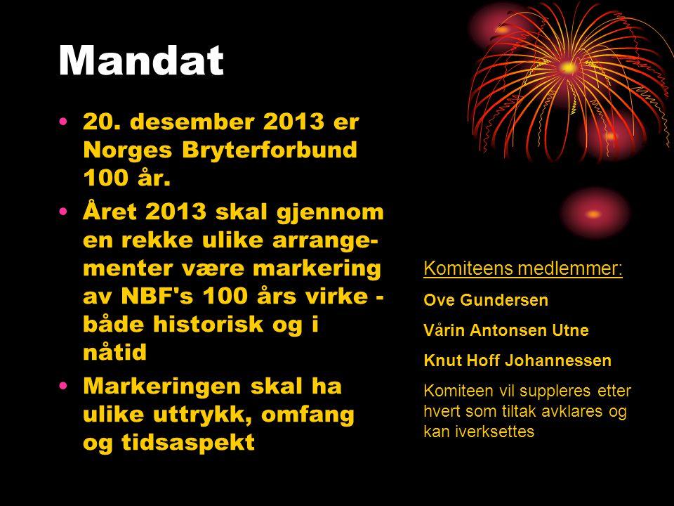 Mandat •20. desember 2013 er Norges Bryterforbund 100 år. •Året 2013 skal gjennom en rekke ulike arrange- menter være markering av NBF's 100 års virke