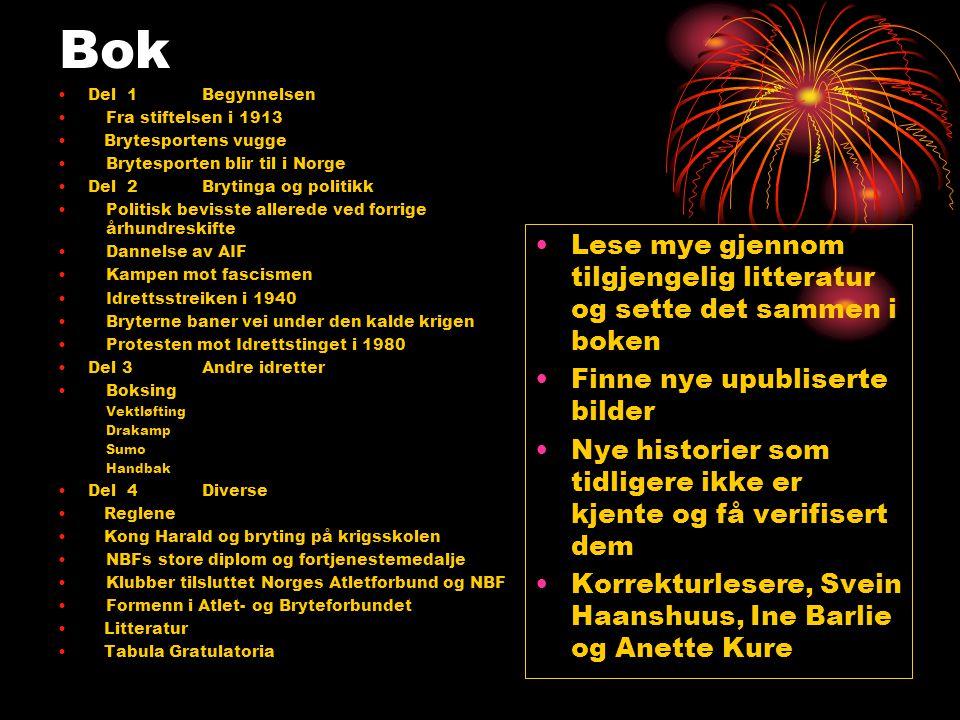 Bok •Del 1 Begynnelsen •Fra stiftelsen i 1913 • Brytesportens vugge •Brytesporten blir til i Norge •Del 2Brytinga og politikk •Politisk bevisste aller
