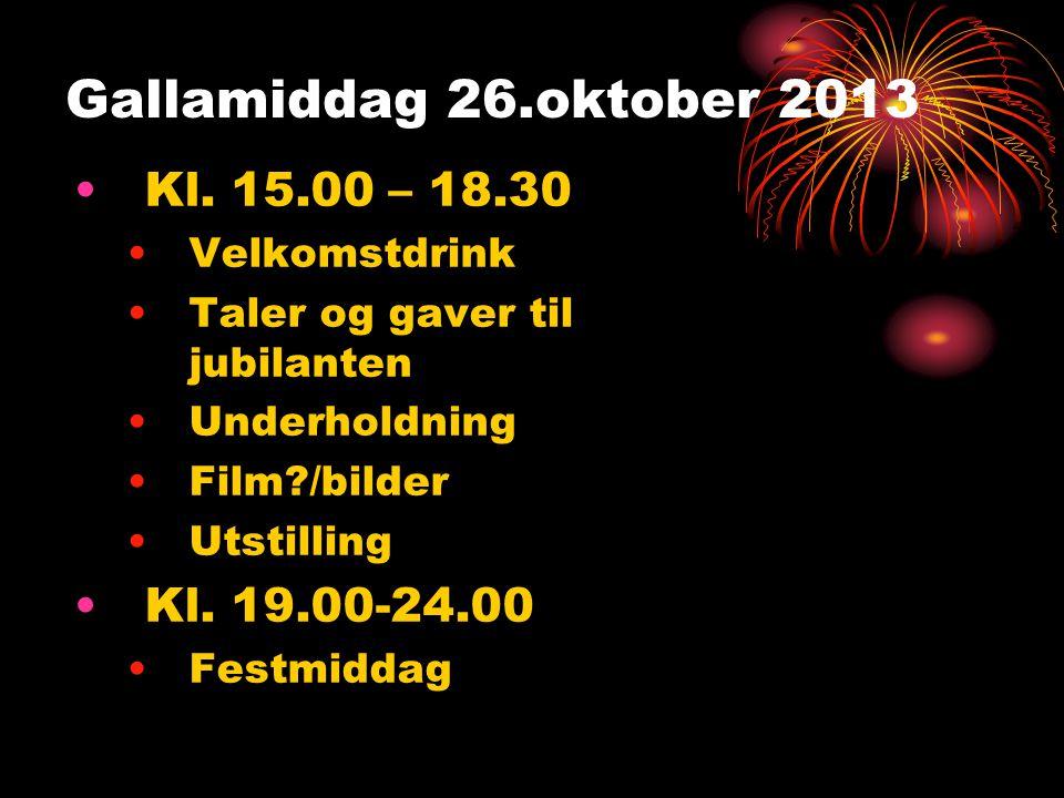Gallamiddag 26.oktober 2013 •Kl. 15.00 – 18.30 •Velkomstdrink •Taler og gaver til jubilanten •Underholdning •Film?/bilder •Utstilling •Kl. 19.00-24.00