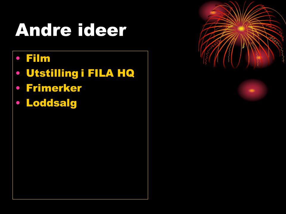 Andre ideer •Film •Utstilling i FILA HQ •Frimerker •Loddsalg