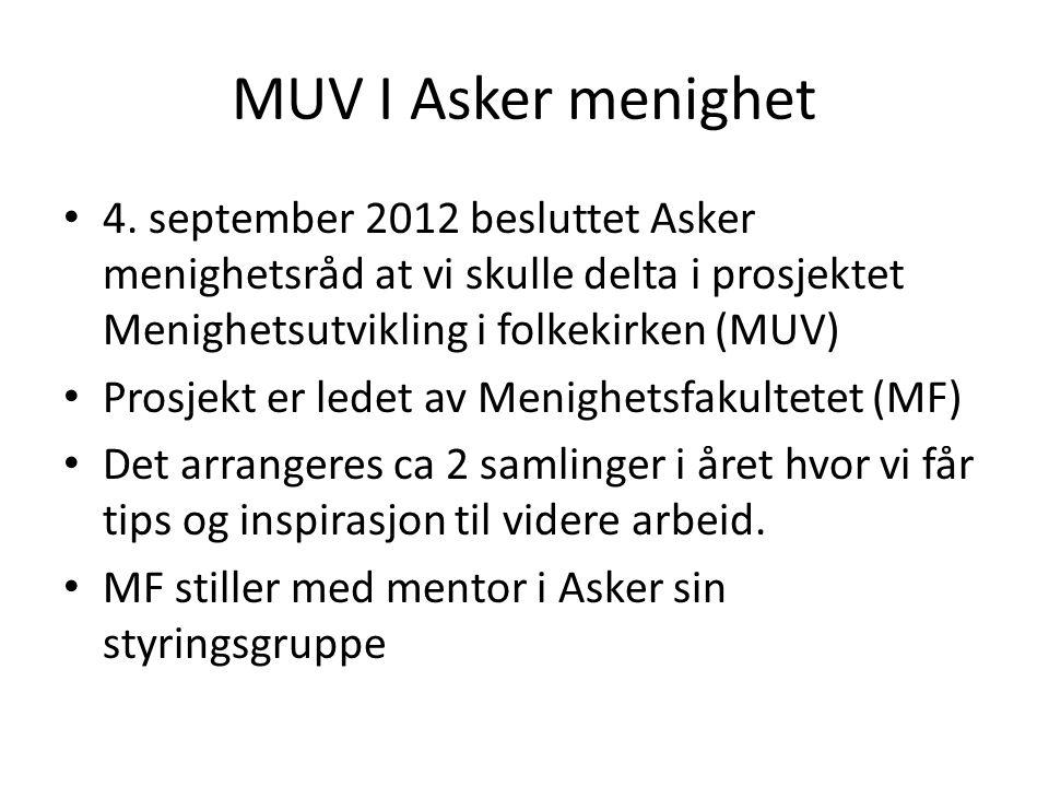 MUV I Asker menighet • 4. september 2012 besluttet Asker menighetsråd at vi skulle delta i prosjektet Menighetsutvikling i folkekirken (MUV) • Prosjek