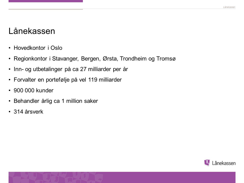 Lånekassen •Hovedkontor i Oslo •Regionkontor i Stavanger, Bergen, Ørsta, Trondheim og Tromsø •Inn- og utbetalinger på ca 27 milliarder per år •Forvalt