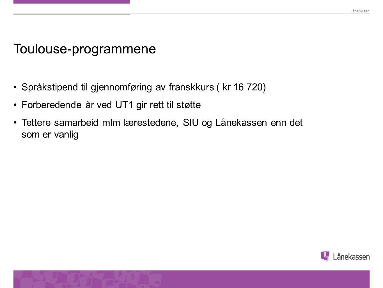 Lånekassen Toulouse-programmene •Språkstipend til gjennomføring av franskkurs ( kr 16 720) •Forberedende år ved UT1 gir rett til støtte •Tettere samar