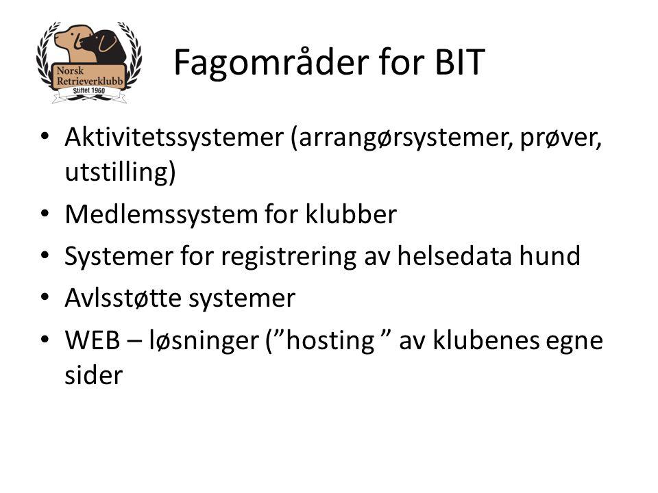 Fagområder for BIT • Aktivitetssystemer (arrangørsystemer, prøver, utstilling) • Medlemssystem for klubber • Systemer for registrering av helsedata hu