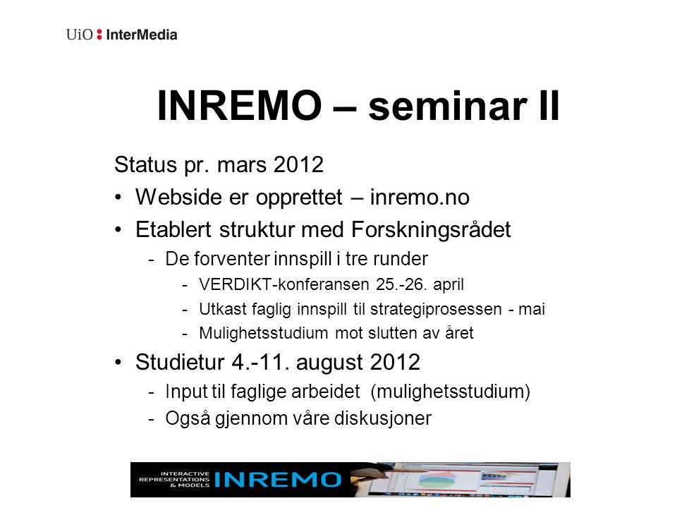 INREMO – seminar II Status pr.