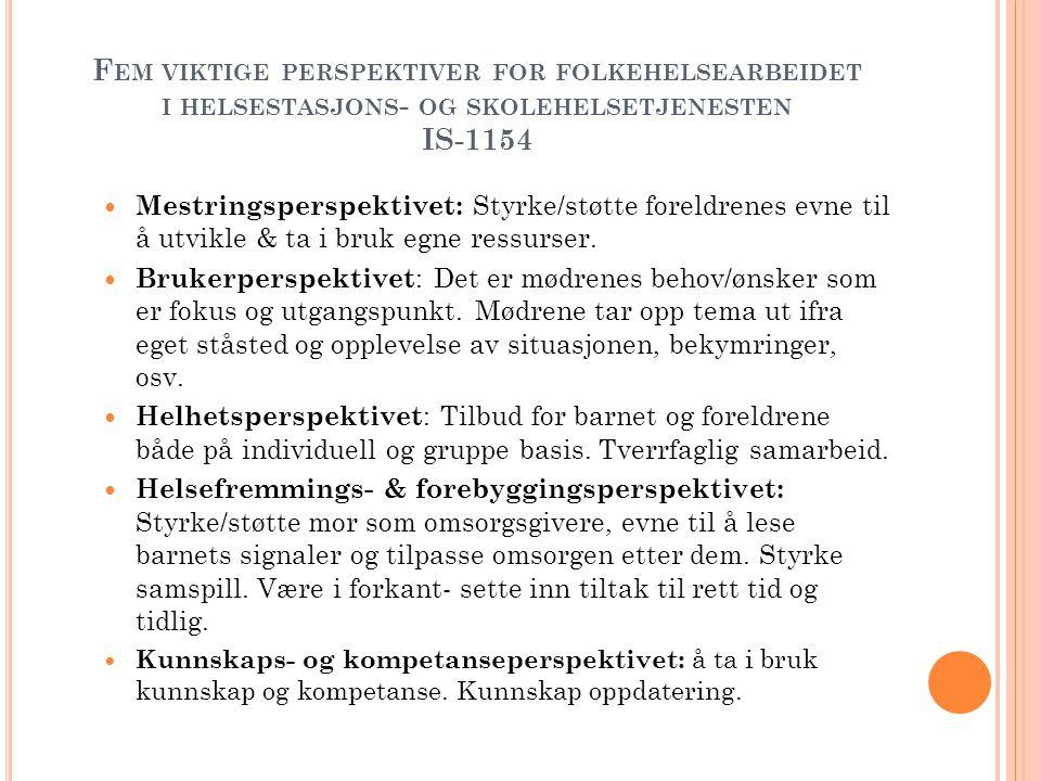 F EM VIKTIGE PERSPEKTIVER FOR FOLKEHELSEARBEIDET I HELSESTASJONS - OG SKOLEHELSETJENESTEN IS-1154  Mestringsperspektivet: Styrke/støtte foreldrenes e