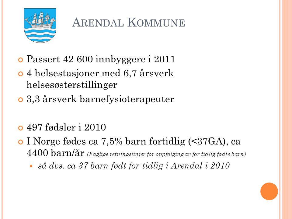 A RENDAL K OMMUNE Passert 42 600 innbyggere i 2011 4 helsestasjoner med 6,7 årsverk helsesøsterstillinger 3,3 årsverk barnefysioterapeuter 497 fødsler