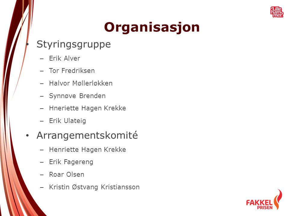 Organisasjon • Styringsgruppe – Erik Alver – Tor Fredriksen – Halvor Møllerløkken – Synnøve Brenden – Hneriette Hagen Krekke – Erik Ulateig • Arrangem