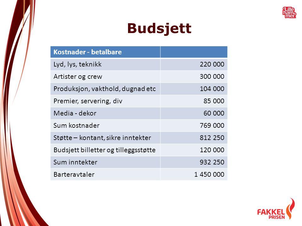 Budsjett Kostnader - betalbare Lyd, lys, teknikk220 000 Artister og crew300 000 Produksjon, vakthold, dugnad etc104 000 Premier, servering, div85 000