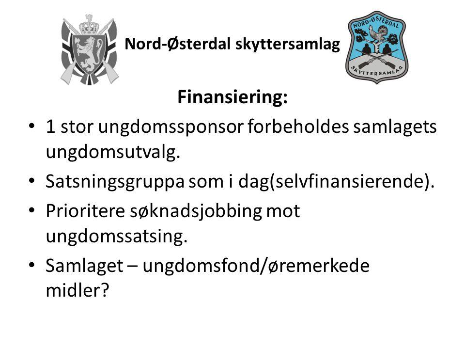 Nord-Østerdal skyttersamlag Finansiering: • 1 stor ungdomssponsor forbeholdes samlagets ungdomsutvalg.